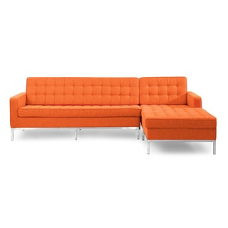 Kardiel Florence Knoll Style Houndstooth Twill Right-facing Sofa Sectional