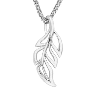 Sterling Silver 17-inch Leaf Pendant Necklace