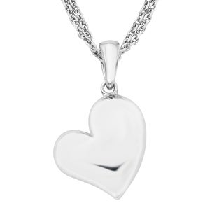 Boston Bay Diamonds 925 Sterling Silver Heart Pendant Necklace, 17""
