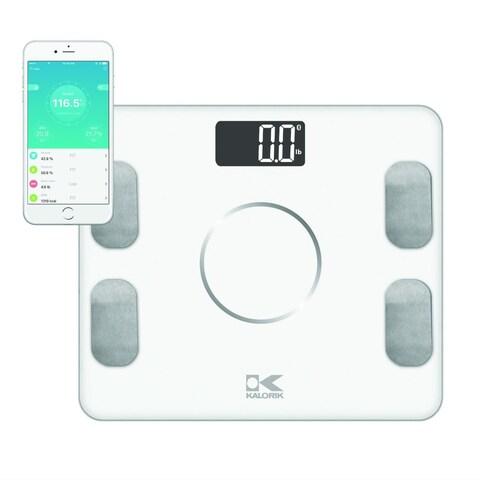 Kalorik Bluetooth White Electronic Body Fat Scale with Body Analysis