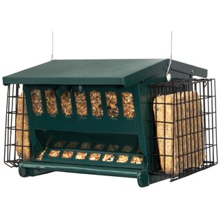 "Audubon 7454 11"" X 7"" Dark Green Steel Seeds 'N More Bird Feeder"