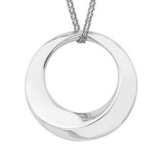 Boston Bay Diamonds 925 Sterling Silver Dimensional Circle Pendant Necklace, 17""