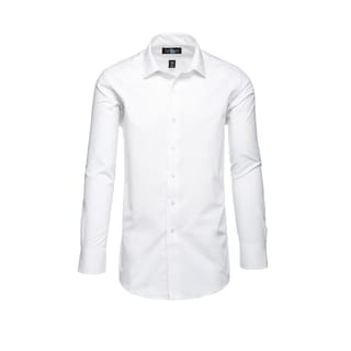 Steve Harvey Men's White Cotton and Polyester Birdseye Textured Dress Shirt