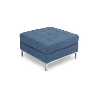 Kardiel Florence Knoll Series Blue Premium Twill And Stainless Steel Square Ottoman