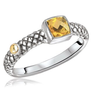 Avanti Sterling Silver and 18K Yellow Gold Square Citrine Fashion Ring