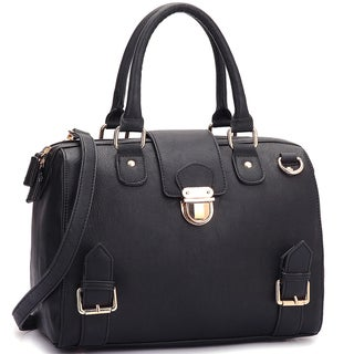 Dasein Structured Front Snap Lock Accent Satchel Handbag