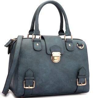 Dasein Structured Front Snap Lock Accent Satchel Handbag