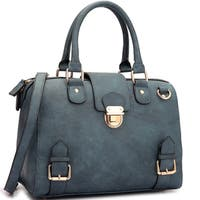 Dasein Faux Leather Structured Front Snap Lock Accent Satchel Handbag