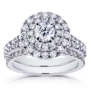 Annello 14k White Gold 2ct TDW Round Diamond Double Halo Cluster Cathedral Bridal Rings (H-I, I1-I2)