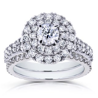Annello by Kobelli 14k White Gold 2ct TDW Round Diamond Double Halo Cluster Cathedral Bridal Rings