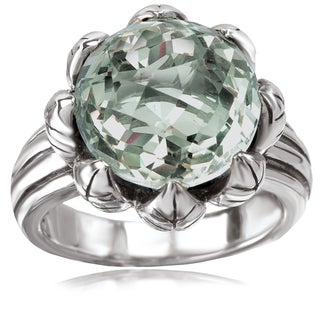 Avanti Sterling Silver Green Amethyst Flower Design Fashion Ring