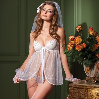 Point d'esprit Babydoll and Thong Set
