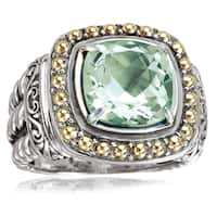 Avanti Sterling Silver and 18K Yellow Gold Green Amethyst Cushion Cut Statement Ring