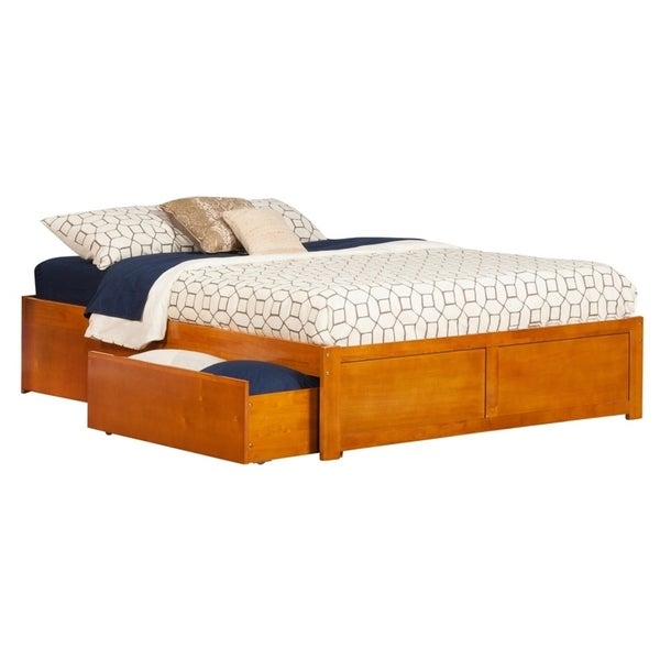 Concord Queen Platform Bed with Flat Panel Foot Board and 2 Urban Bed Drawers in Caramel