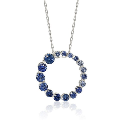 Suzy Levian Sterling Silver Natural Sapphire Circle Journey Pendant Necklace
