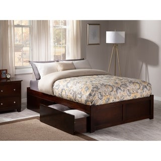 Concord Queen Platform Bed with Flat Panel Foot Board and 2 Urban Bed Drawers in Walnut