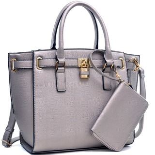 Dasein Buffalo Faux Leather Belted Medium Tote Bag