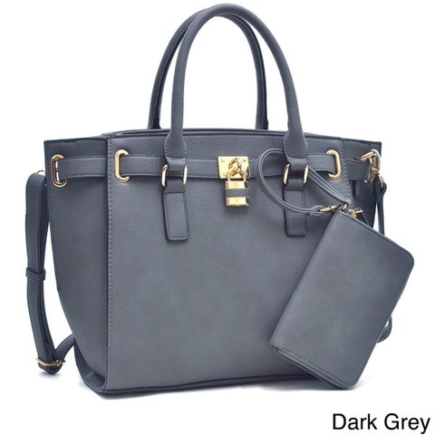 Dasein Buffalo Belted Tote Bag With Matching Wristlet