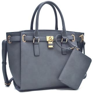 Dasein Buffalo Belted Tote Bag With Matching Wristlet|https://ak1.ostkcdn.com/images/products/12776997/P19550422.jpg?impolicy=medium