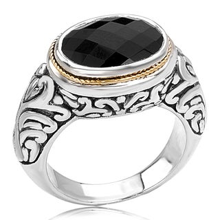 Avanti Sterling Silver and 18K Yellow Gold Black Onyx Oval Vintage Ring
