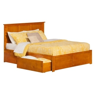 Madison King Platform Bed with Flat Panel Foot Board and 2 Urban Bed Drawers in Caramel