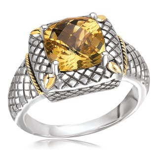 Avanti Sterling Silver and 18K Yellow Gold Cushion Cut Citrine Corss Hatch Design Ring