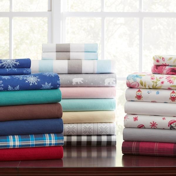 Pointehaven 175 GSM Solid or Printed Cotton Flannel Oversized Duvet Set