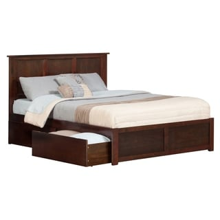 Madison Brown/Walnut Wood Queen Flat Panel Footboard with Urban Bed Drawers