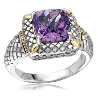 Avanti Sterling Silver and 18K Yellow Gold Cushion Cut Amethyst Cross Hatch Design Statement Ring