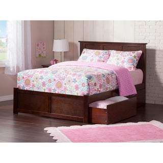 Madison King Platform Bed with Flat Panel Foot Board and 2 Urban Bed Drawers in Walnut