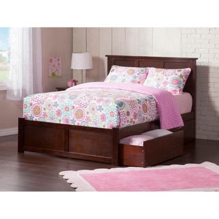Link to Madison King Platform Bed with Flat Panel Foot Board and 2 Urban Bed Drawers in Walnut Similar Items in Bedroom Furniture