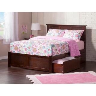 Atlantic Madison Walnut Wood King Flat-panel Footboard Bed With 2 Drawers