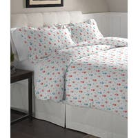 Pointehaven Owl Printed Cotton Flannel Oversized Duvet Set