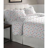 Pointehaven Owl Printed Cotton Flannel Oversized Duvet Set