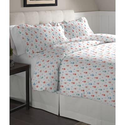 Pointehaven Owl Printed Cotton Flannel Oversized Duvet Set - Multi-color