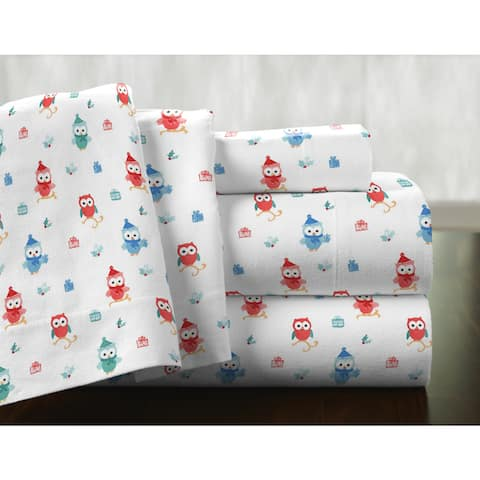 Pointehaven Owl Printed Cotton Flannel Oversized Duvet Set - Multi-color