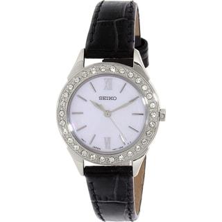 Seiko Women's SXGP27P2 Black Leather Quartz Watch