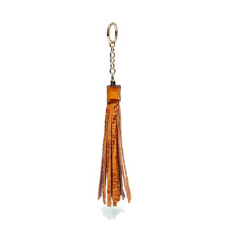 Vicenzo Leather Terza Croc Embossed Leather Tassel Key Chain