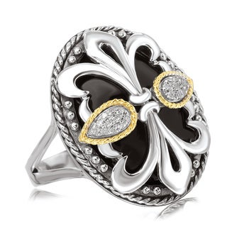 Avanti Sterling Silver and 18K Yellow Gold Black Onyx Fleur-De-Lis Design Ring