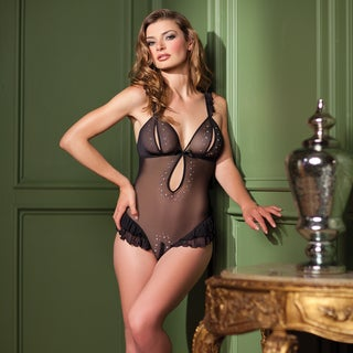 Be Wicked Black/Cream Polyester/Nylon Lace Sexy Teddy