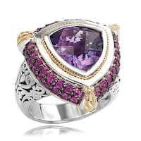 Avanti Sterling Silver and 18K Yellow Gold Amethyst and Pink Sapphire Trillion Shape Ring