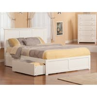 Madison Queen Platform Bed with Flat Panel Foot Board and 2 Urban Bed Drawers in White