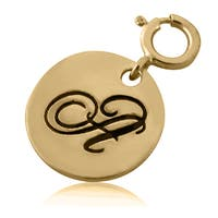 Goldplated Sterling Silver Round Script Initial Charm