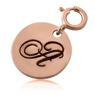 Sterling Silver Rose Gold-plated Round Script Initial Charm for Charm Bracelet
