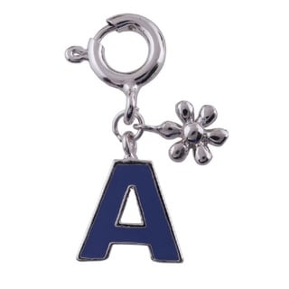 A-Z Initial Sterling Silver Rhodium Plated Purple Enamel Charm