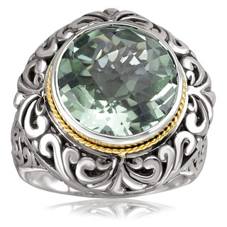 Avanti Sterling Silver and 18K Yellow Gold Round Green Amethyst Scroll Design Ring