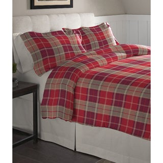 Pointehaven Piedmont Plaid Cotton Flannel Oversized Duvet Set