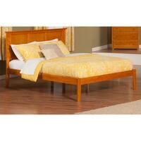 Atlantic Caramel Latte Wood Madison Queen Size Open Foot Platform Bed