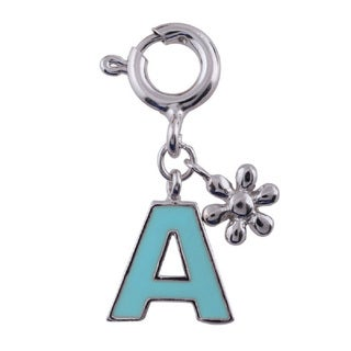 Sterling Silver Rhodium Plated Turquoise Enamel Initial Letter Charm (Available A-Z)