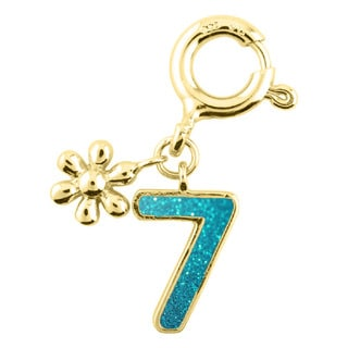 Sterling Silver Goldplated Sparkly Turquoise Enamel Number Flower Charm for Charm Bracelet (0-9)